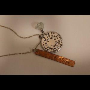 New handmade Walt Disney courage quote necklace